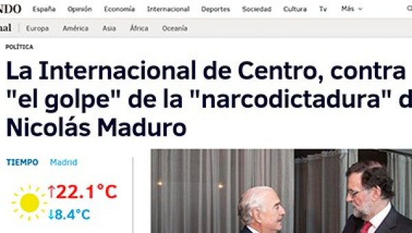 "Published in ""El Mundo"": The International Center, against ""The Coup"" of the ""Narcodictatura"" of Nicolas Maduro"