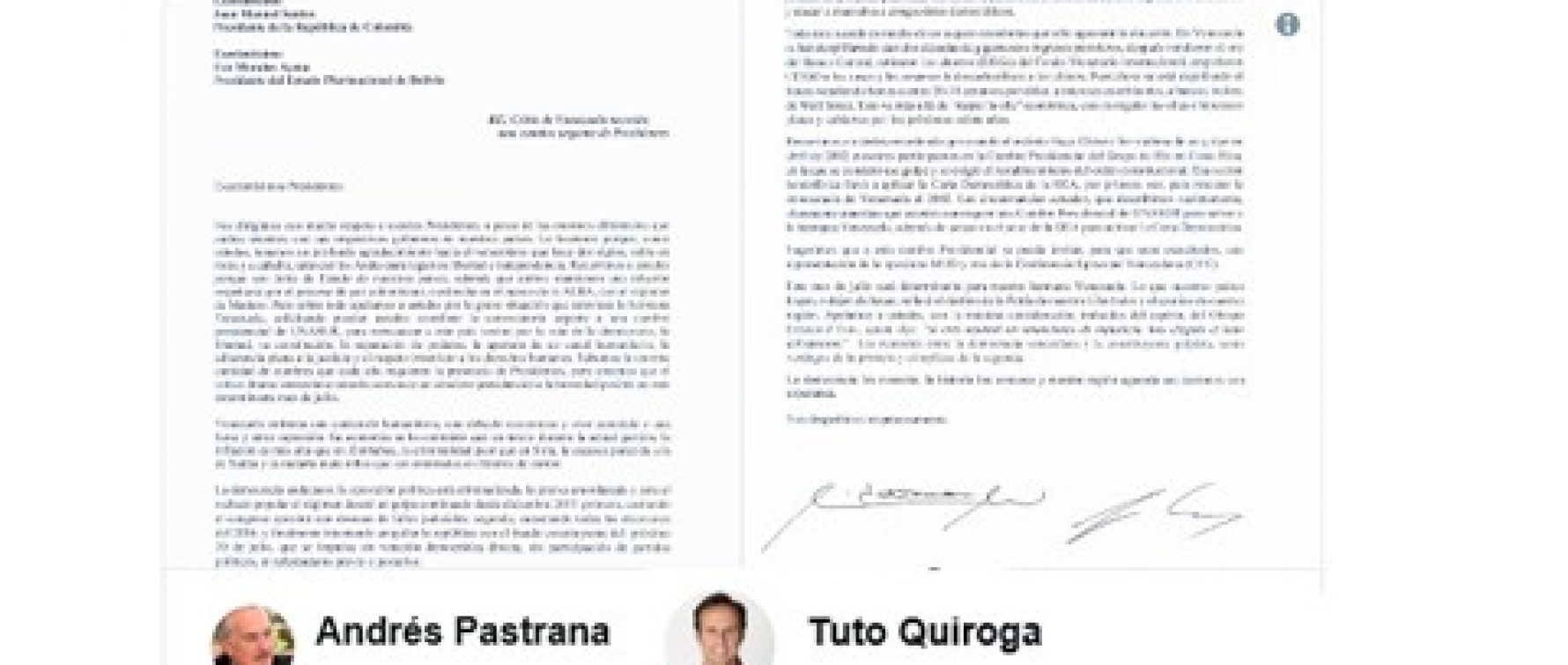 Letter of the expresidents Andrés Pastrana and Tuto Quiroga, to the presidents Juan Manuel Santos and Evo Morales